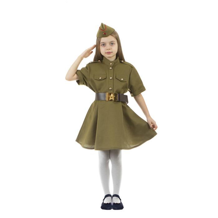 Карнавальный костюм военного: платье с коротким рукавом, пилотка, р-р 32, рост 122-128 см - фото 105522110