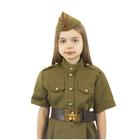 Карнавальный костюм военного: платье с коротким рукавом, пилотка, р-р 32, рост 122-128 см - фото 105522111