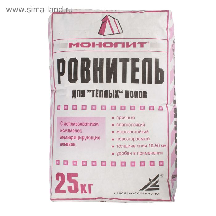"""Ровнитель для """"тёплых"""" полов """"Монолит"""", 25 кг"""