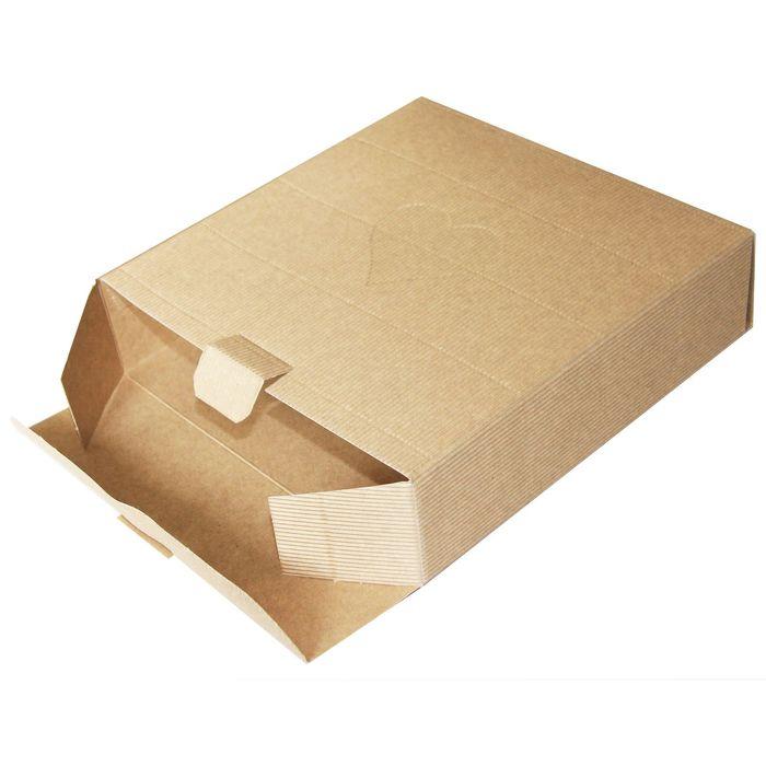 Коробка крафт из рифлёного картона, 21,5 х 21,5 х 6 см