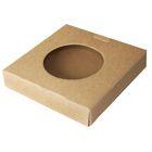 Коробка крафт из рифлёного картона с прозрачным отверстием, 15,5 х 15,5 х 3 см