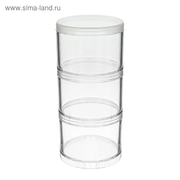 Контейнер круглый, для мелкой фурнитуры, 70мм, набор 3шт, пластик