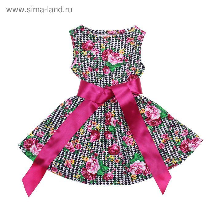 """Платье """"Летний блюз"""", рост 104 см (54), цвет розовый, принт гусиные лапки (арт. ДПБ837001н)"""