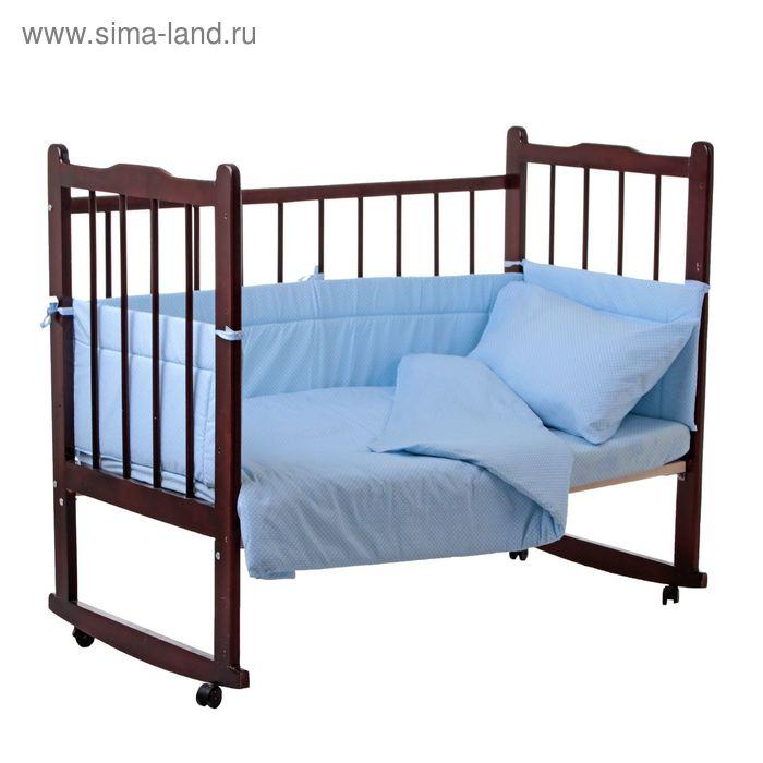 """Комплект в кроватку """"Горошки"""" (4 предмета), цвет голубой 10403"""