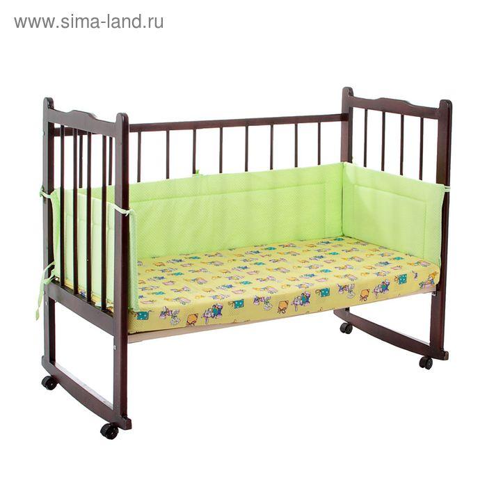 """Бортик """"Горошки"""", 4 части (2 части: 32х60 см, 2 части: 32х120 см), цвет зелёный (арт. 10115)"""