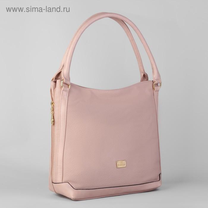 Сумка женская на молнии, 1 отдел с расширением, 1 наружный карман, розовая
