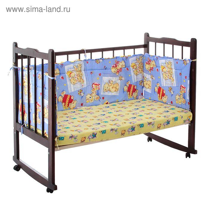 """Бортик """"Тедди"""", 4 части (2 части: 45х60 см, 2 части: 45х120 см), цвет голубой (арт. 10112)"""