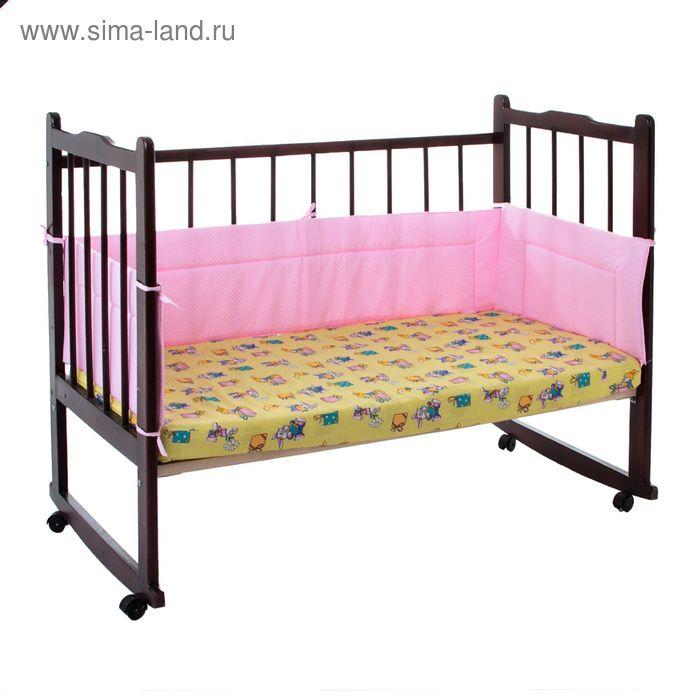 """Бортик """"Горошки"""", 4 части (2 части: 32х60 см, 2 части: 32х120 см), цвет розовый (арт. 10115)"""