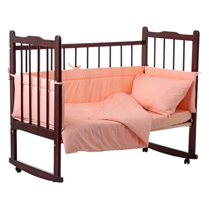 """Комплект в кроватку """"Горошки"""" (4 предмета), цвет персиковый 10403"""