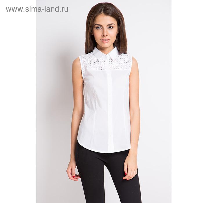 Блузка женская с коротким рукавом, рост 170 см, размер 50, цвет белый (арт. 15165-0,1 С+)