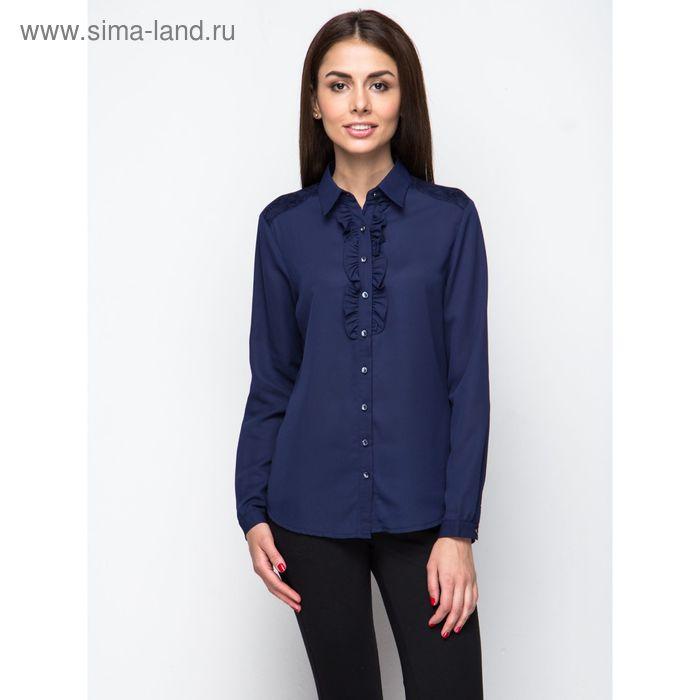 Блузка женская с длинным рукавом, рост 170 см, размер 50, цвет тёмно-синий (арт. 15186 С+)