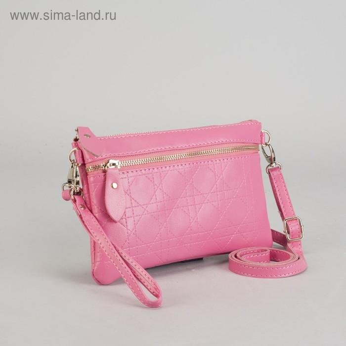 Клатч на молнии, 1 отдел с перегородкой, 1 наружный карман, с ручкой, длинный ремень, розовый