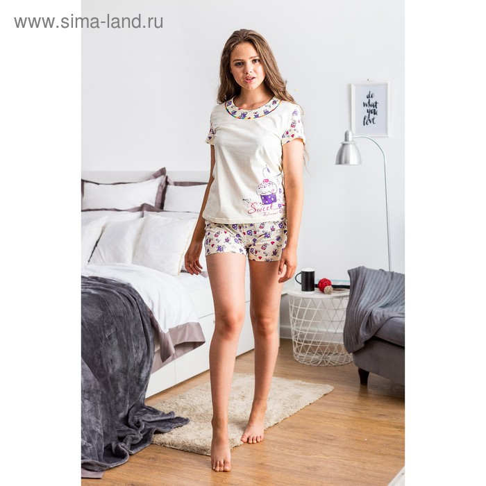 Пижама женская 221ХР1369П экрю, р-р 44 (88)