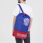 Рюкзак молодёжный-торба, 2 отдела на молнии, наружный карман, цвет синий/красный - фото 268467