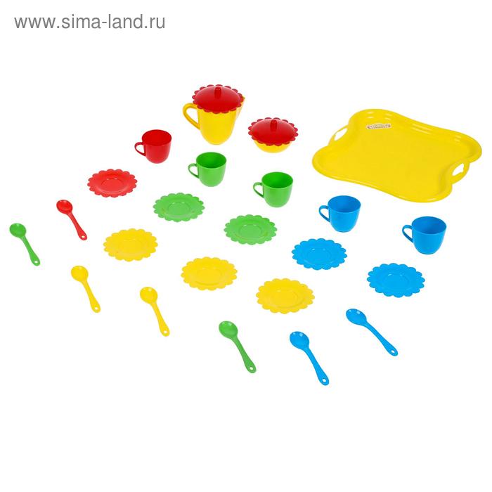 """Набор посуды """"Ромашка"""" на 6 персон с подносом, цвета МИКС"""