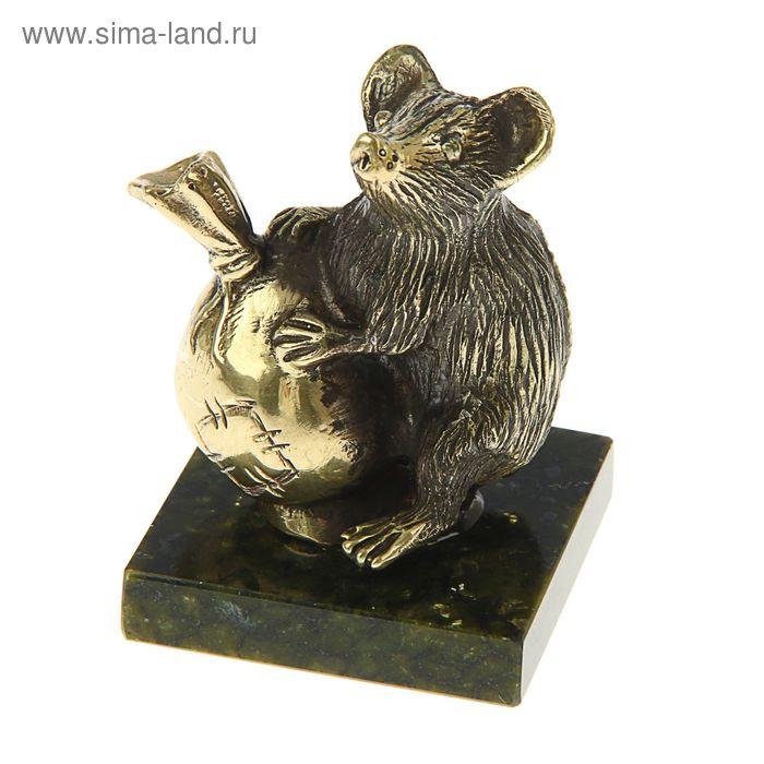 Мышь большая с мешком из бронзы на подставке из змеевика