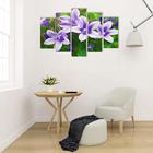 """Модульная картина на подрамнике """"Лиловые цветы"""", 2 — 25×52 см, 2 — 25×66,5 см, 1 — 25×80 см, 80×140 см"""