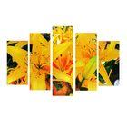 """Модульная картина на подрамнике """"Лилии"""", 2 — 25×52 см, 2 — 25×66,5 см, 1 — 25×80 см, 80×140 см"""