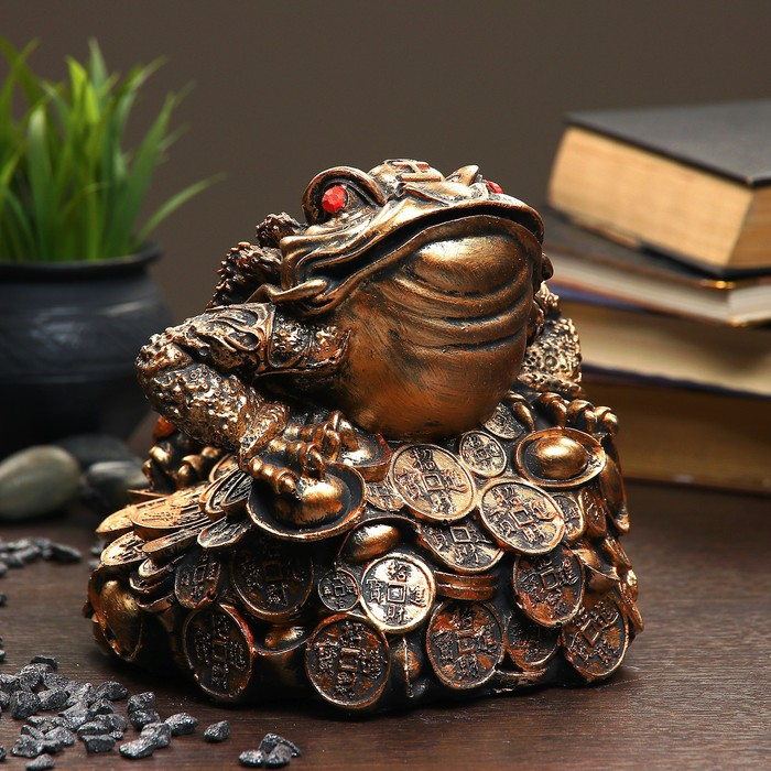 """Фигура """"Жаба на монетах"""" 18х18х18см"""
