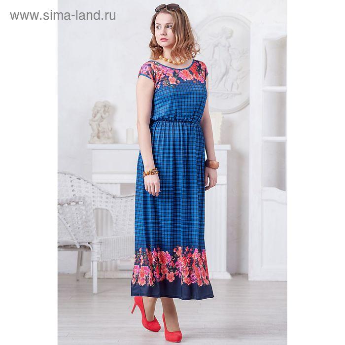 Платье женское, размер 50, рост 164 см, цвет синий/коралловый (арт. 4482 С+)