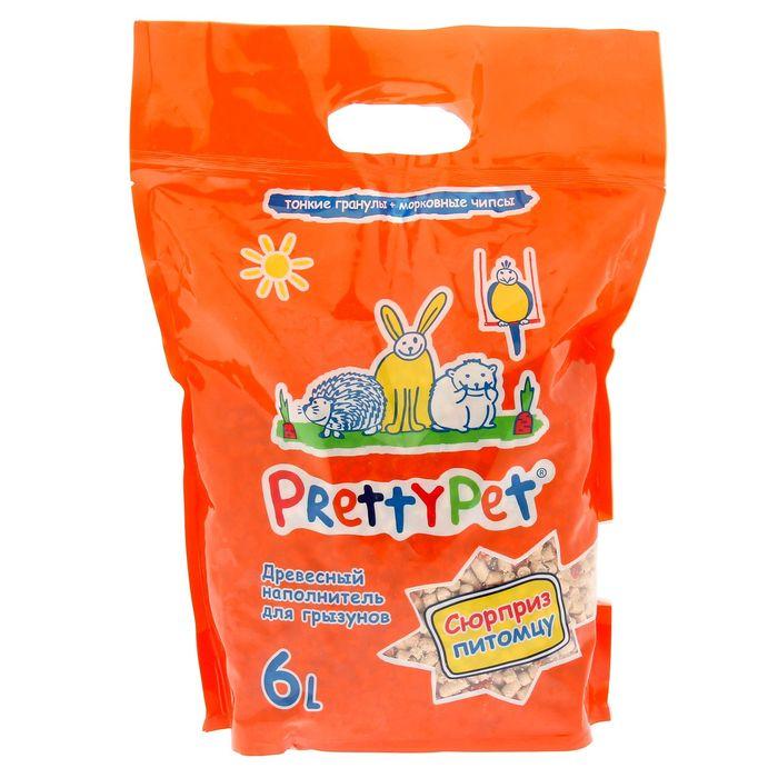 """Наполнитель древесный """"PrettyPet"""" с морковными чипсами для грызунов и птиц, 2 кг/6 л"""