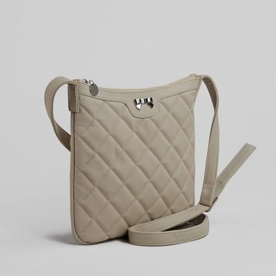 Сумка женская на молнии, 1 отдел, 1 наружный карман, регулируемый ремень, бежевая