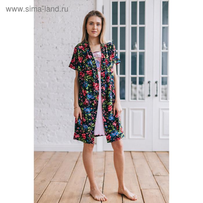 Комплект женский (халат, сорочка), цвет розовый/синий, размер 44 (арт. 8026)