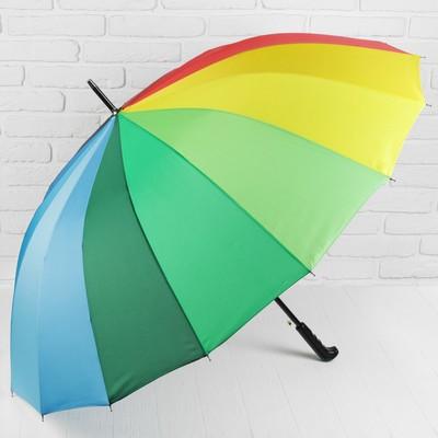 """Зонт трость """"Радуга"""", полуавтоматический, R=55см, разноцветный"""