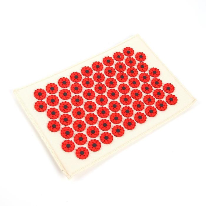 """Массажёр-аппликатор медицинский """"Тибетский"""" на мягкой подложке, для чувствительной кожи, с магнитами, красный"""