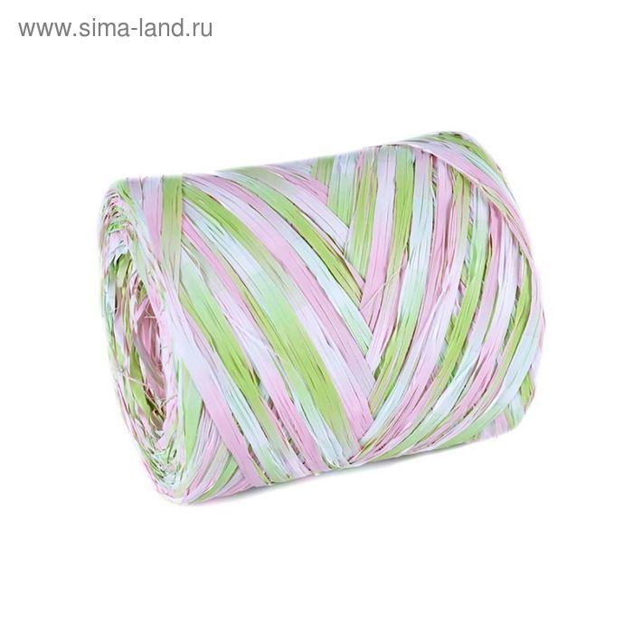 Рафия переход цвета, розово-салатовая, 200 м