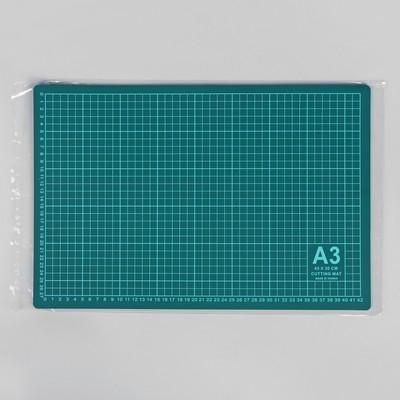 Мат для резки, 45 × 30 см, А3, цвет зелёный