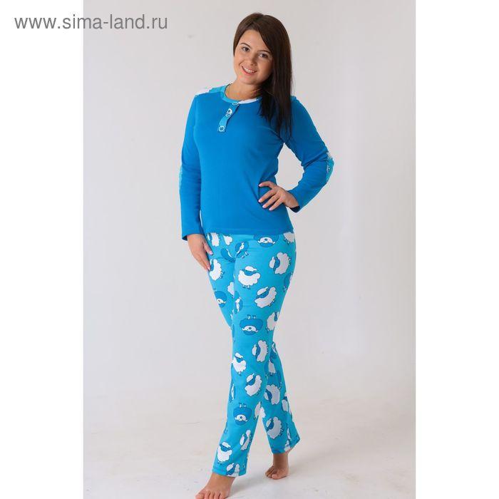 Комплект женский (фуфайка, брюки) Душка-1 синий, р-р 52
