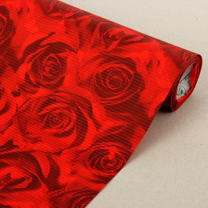 """Бумага упаковочная крафт """"Розы"""", красно-бордовая, 0.5 х 10 м"""