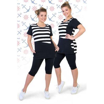 """Комплект женский (футболка, бриджи) """"Ундина-2"""", цвет чёрно-белый, размер 48"""