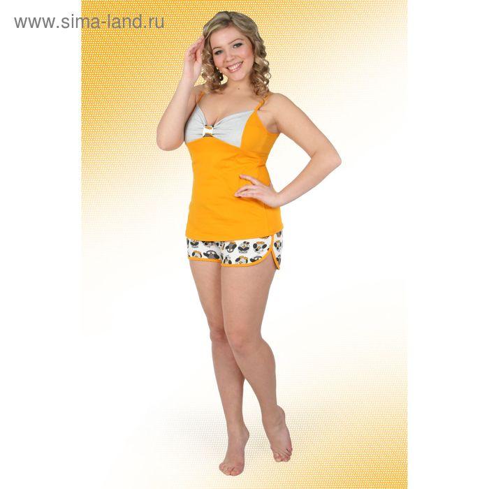 Пижама женская (топ, шорты) Пин-1 желтый, р-р 44