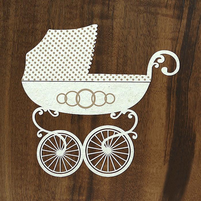 Шаблон коляска для открытки, вертикальные днем рождения
