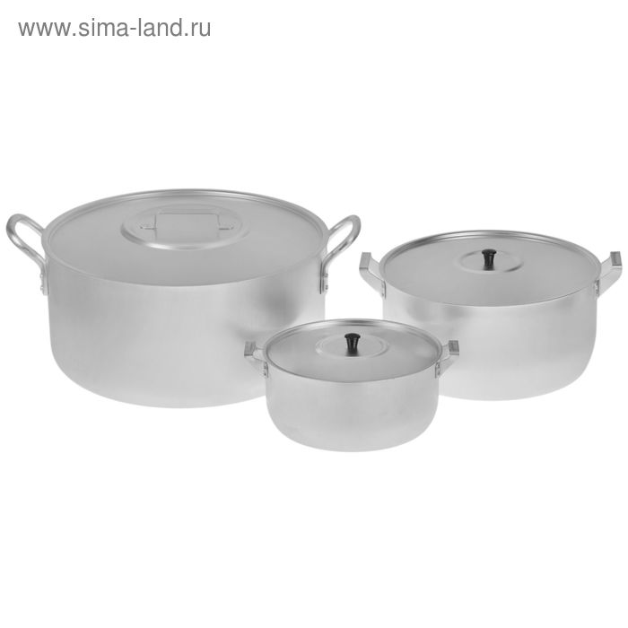 Набор посуды, 3 предмета: кастрюля 6 л; кастрюля 15 л; котелок 30 л