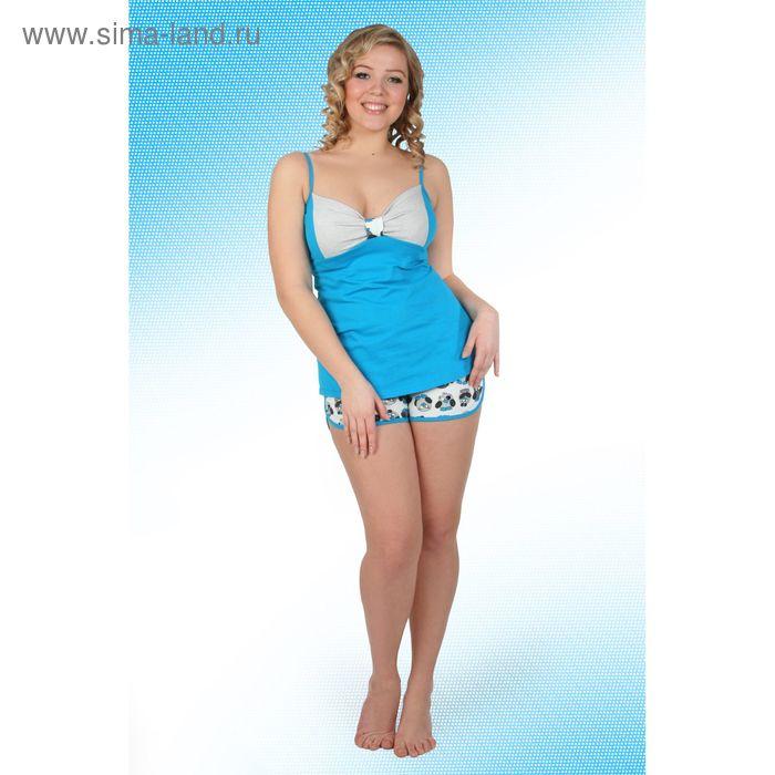 Пижама женская (топ, шорты) Пин-1 синий, р-р 48