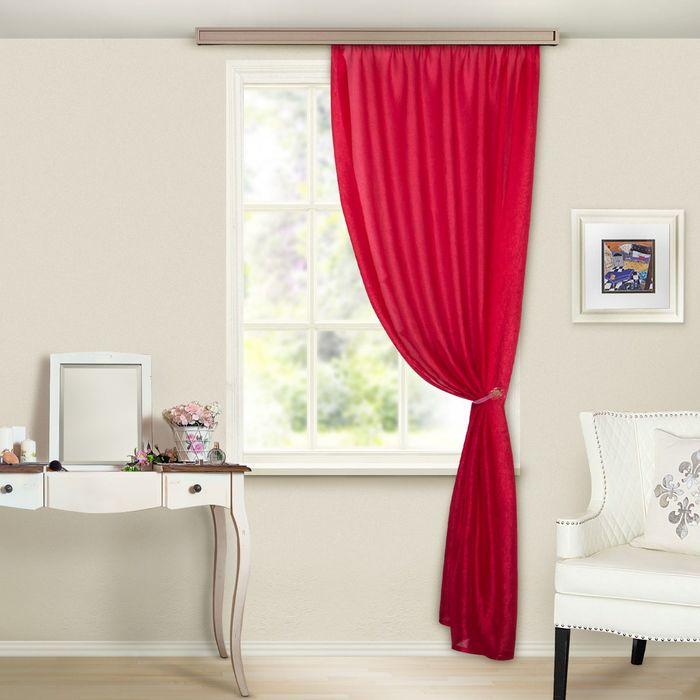 """Штора портьерная """"Тергалет"""", ширина 140 см, высота 260 см-1шт., цвет красный"""
