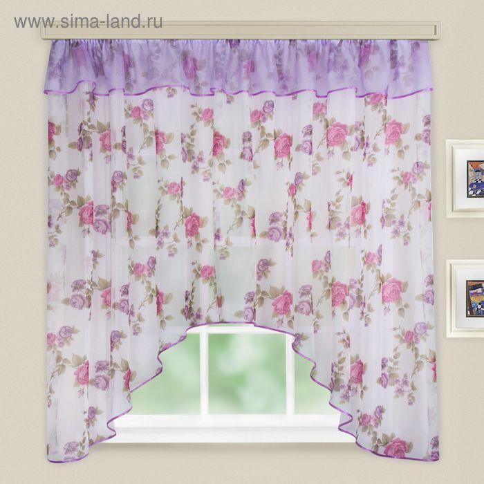"""Кухонная штора """"Кантри"""", ширина 285 см, высота 160 см+/- 5 см, цвет тёмно-розовый, принт микс"""