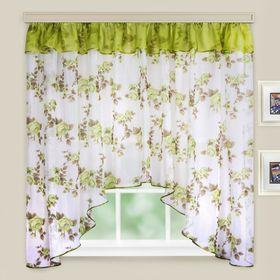 """Кухонная штора """"Кантри"""", ширина 285 см, высота 160 см+/- 5 см, цвет зелёный, принт микс"""