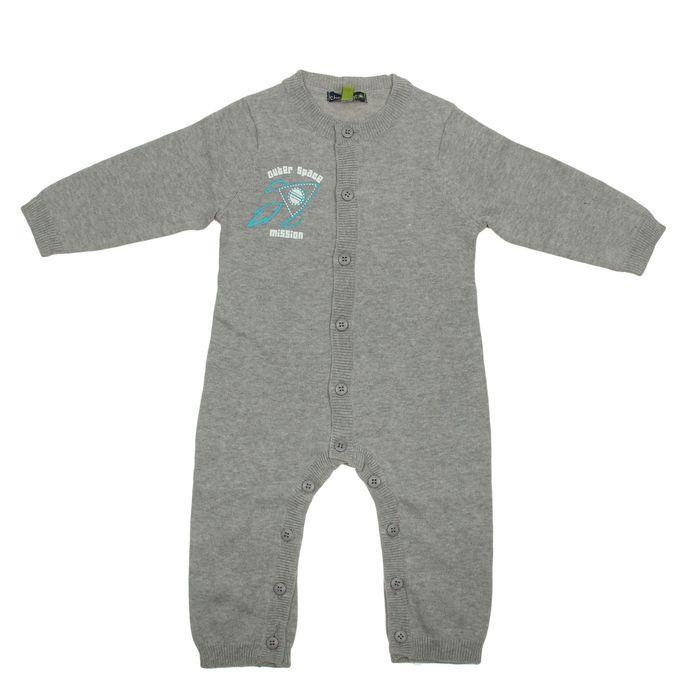 Комбинезон для мальчика, рост 56 см, цвет серый меланж