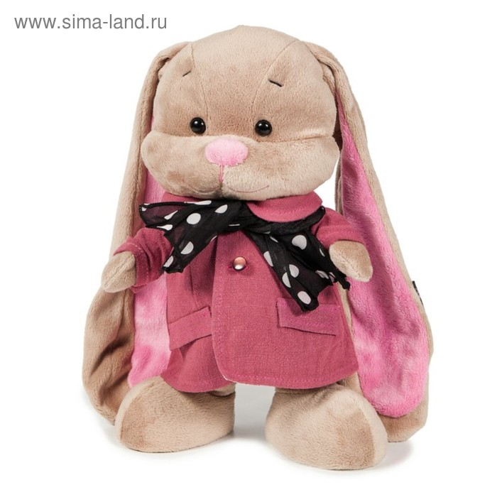 Мягкая игрушка «Зайка Лин в розовом пальто со стильным шарфом»