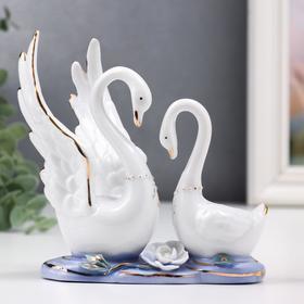 """Сувенир керамика """"Два лебедя в заводи с лотосом"""" 13 см"""