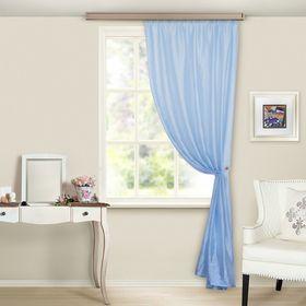 Штора портьерная 'Тергалет', ширина 140 см, высота 260 см-1шт., цвет голубой Ош