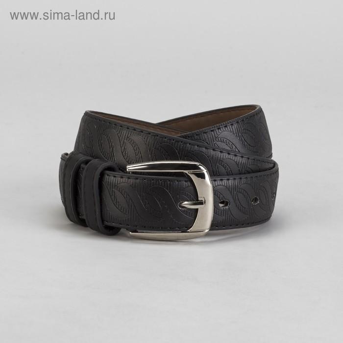 Ремень мужской, винт, пряжка под металл, ширина - 3,5см, чёрный