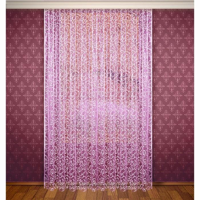 Штора, ширина 300 см, высота 280 см, с шторной лентой, цвет фиолетово-розовый - фото 1641780