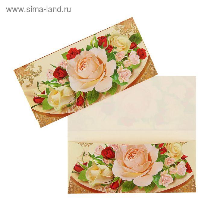 """Конверт для денег """"Универсальный"""" белые и красные розы, глиттер, лак"""