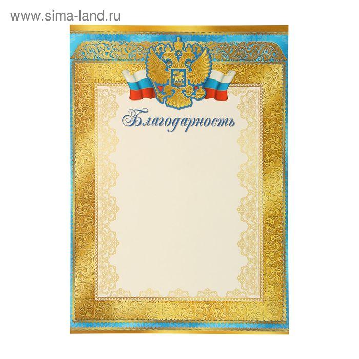 """Благодарность """"Россия"""" герб, лента триколор, синяя рамка"""