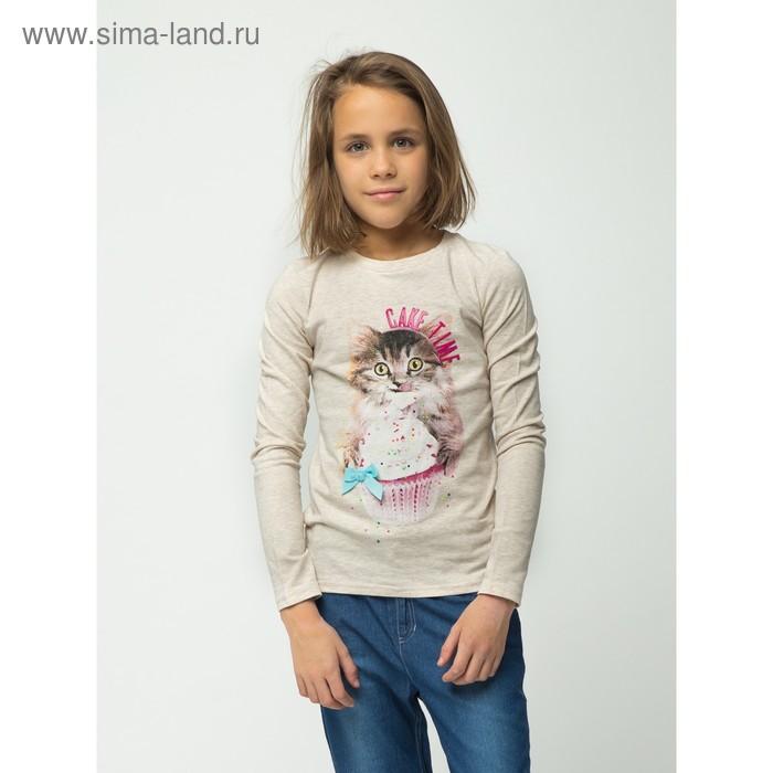 Футболка детская для девочек Pancake, рост 134 см, цвет бежевый (арт. 20210100008)